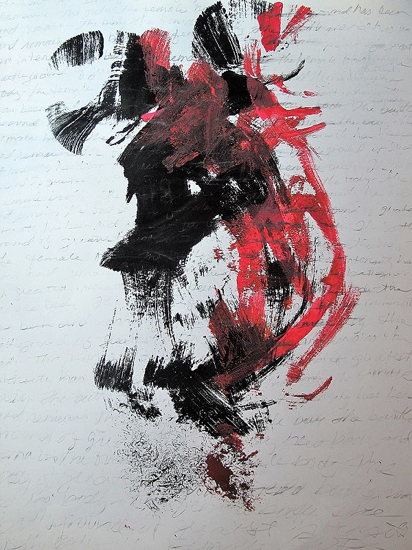 An abstract painting with red and black brushy strokes by Sally Brown