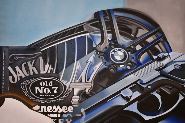 an oil painting on canvas by Kristina Bajilo that features company logos for BMW and Jack Daniels and a gun