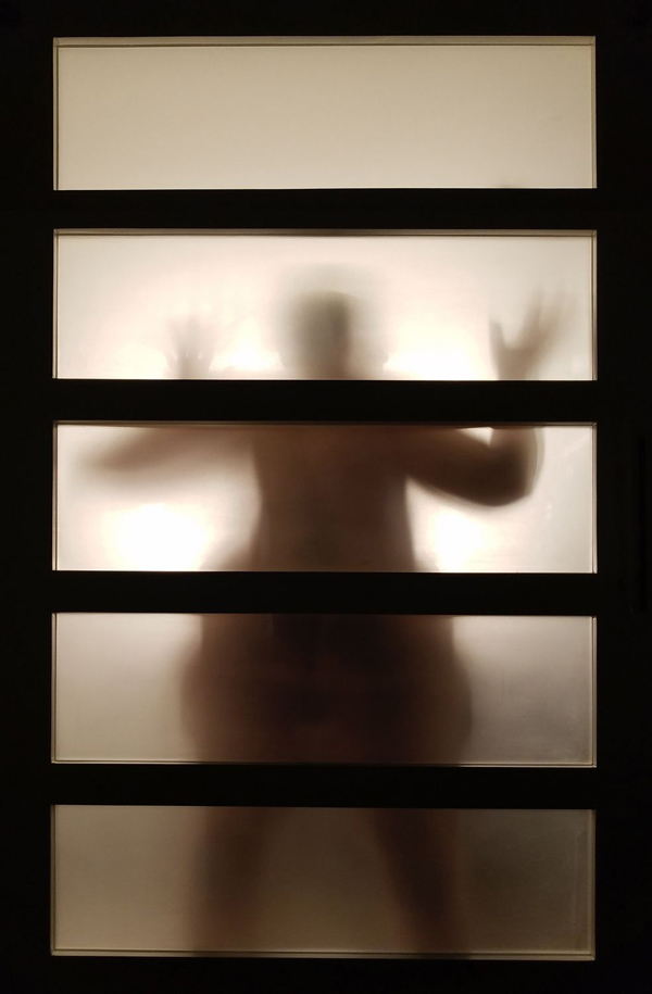 Photograph of a nude woman behind a paper screen in a hotel room by Kristine Schomaker