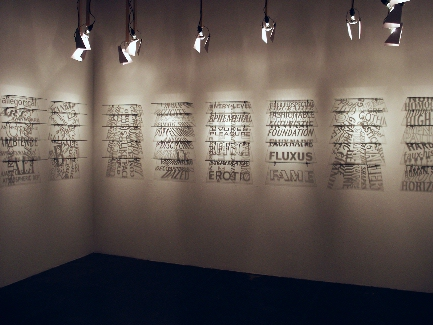 Installation view of Joe Amrhein's ABECEDARIAN