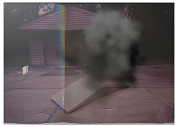 This is a picture of a dust cloud over a wooden construction of the peak of a roof on the ground in front of a garage by Richard Haley