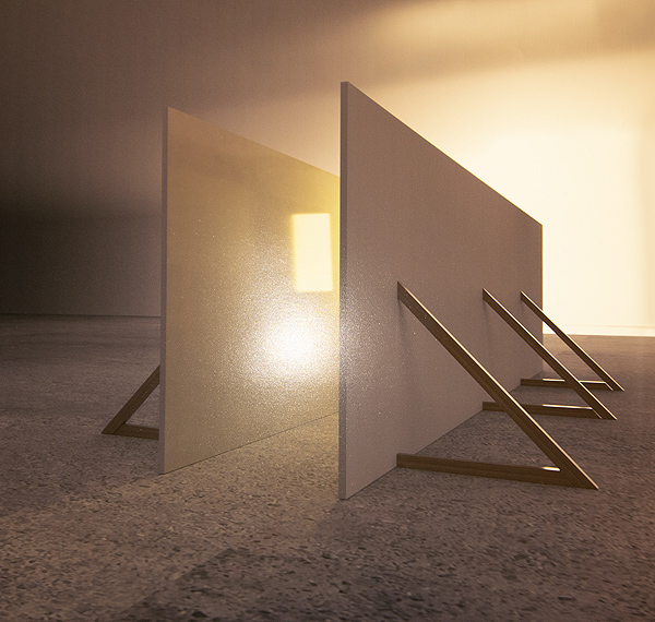This is a picture of a corridor that has a strong light source at the end and made from two long wooden rectanges held up with angled wood planks by Richard Haley