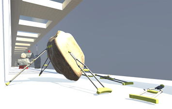 This is a picture of stylized archecture with a rock held up by several crutches for a video game by Richard Haley
