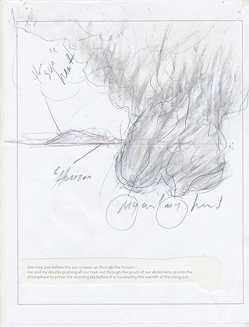 This is a picture of a pencil drawing with two abstract cloud-like shapes on the right side with a mountain and the horizon line in the background by Richard Haley